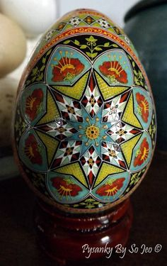Over The Rainbow Pysanka Ukrainian Style Easter Egg Batik Art Version II