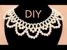 """Tutorial: Beaded choker with pearls (Wedding style) / Chalker of beads and pearls """"Lady"""" (wedding) Beaded Choker Necklace, Bridal Necklace, Diy Necklace, Collar Necklace, Seed Bead Jewelry, Art Deco Jewelry, Crystal Jewelry, Silver Jewelry, Beaded Collar"""