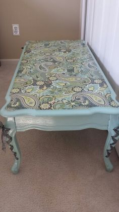 Upcycled fench coffee table, Shabby Chic, decoupage paisley print, blue with laces. Diy accent table.