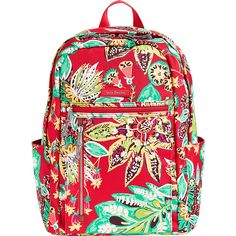 Vera Bradley Lighten Up Small Backpack - Rumba - School Backpacks ($98) ❤ liked on Polyvore featuring bags, backpacks, red, lightweight rucksack, vera bradley backpack, lightweight daypack, lightweight bags and light weight backpack
