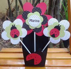 Centro de Mesa Joaninhas e Flores   FUNNY PAPER   359859 - Elo7
