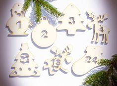 Adventskalenderzahlen - Advent Kalender Bastel Material (Pappel - Holz) - ein Designerstück von Mach-Einzigartiges
