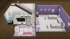 I love this design! So I made it in a blue themed house- I was tired of the blue and decided the girls room should be fun and pretty but I wanted the whole basement space to be the girls little play space. And when they grow older- easily be turned into a hangout spot. Enjoy! #simsfreeplayhomes #designtips #design #simsfreeplay