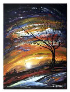 absract paintings on canvas | Bright bold colorful large abstract art landscape 36x48 inches or 3x4 ...