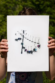 Ski Lift Print by IndigoKnot on Etsy
