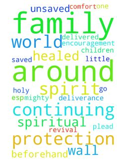 Continuing to ask -  Lord Jesus I am continuing to ask for strong protection for my family and I esp. the little one and that you intervene on our behalf. praying for unsaved family members to be saved and all of us to be delivered from all spiritual bondage and healed in our soul and spirit and body. Lord Jesus I plead your precious blood over us and ask for your mighty warrior angels to surround us and a wall of Holy Spirit fire. I ask also for those praying for us. Please bless them and…