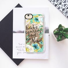 Have Courage and Be Kind Gold and Teal Watercolor Floral - Classic Grip Case