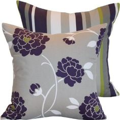 "Amazon.com: Tickle Me Platinum Collection - Designer Robert Allen Decorative 18"" Square Throw Pillow Cover - Flowers (Floral) and Stripes - Purple, White, Gray and Green Hues - 1 Pillow Cover, 2 Looks: Home & Kitchen"