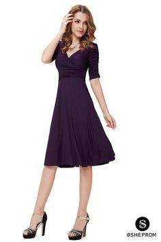 Simple short purple dress with half sleeves