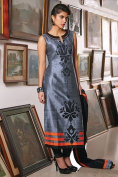 #Grey multicoloured raw silk #charming kameez with patch work & #high neck -SL4188