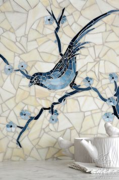 Chinoiserie, a hand cut jewel glass mosaic shown in Marcasite, Pewter and Mica with Quartz sea glass, is part of the Delft Collection by Sar...