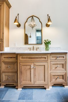 Champagne Bronze + Marble + Slate. Master Bath. Fresh + Clean. #ModernHacienda. B & Co.