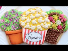 Cupcake cookie cutter done 4 ways (popcorn cookie, flower cookie & Leprechaun cookies)- Detailed Video tutorial - YouTube.com/montrealconfections