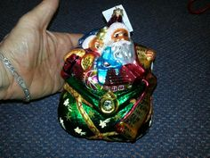 Scarce 1996 large Santa Claus bag of toys Christopher Radko Christmas ornament