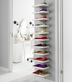 Majestic 12 Unique And Creative DIY Shoe Rack Design Ideas You Can Imitate Are you among those who like or hobby of collecting shoes? Surely you also feel the problem on this one, confused thinking about how to save it. Ikea Algot, Ikea Shoe Storage, Diy Storage, Storage Spaces, Shoe Storage Ideas For Small Spaces, Diy Rack, Diy Shoe Rack, Ideas Armario, Living Room Decor Ikea