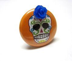 Orange Sugar Skull Ring  Adjustable Dia de los by sweetie2sweetie, $7.99