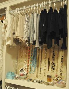behind-the-closet-door storage system ~~ IHeart Organizing: Reader Space: Closet Door Storage, Closet Organization, Closet Nook, Closet Space, Organization Ideas, Jewellery Storage, Diy Jewelry, Necklace Storage, Jewellery Display