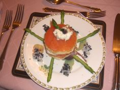 Starter by Charlotte Leventis. Smoked salmon & horseradish stack with brioche, asparagus & caviar. Yummy!!