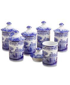 "Spode \""Blue Italian\"" Spice Jars, Set of 6"