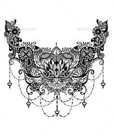 Lotus Tattoo #paisley #design Download : https://graphicriver.net/item/lotus-tattoo/19429856?ref=pxcr