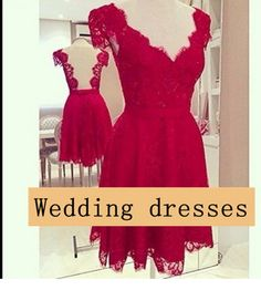 Cap sleeve v-neck open back short red bridesmaid dress cheap lace prom dresses for women chinese size S,M,L,XL