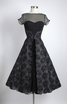 HEMLOCK VINTAGE CLOTHING : Mary Sachs 1950's Embroidered Silk Organza Dress