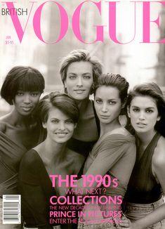 Naomi, Linda, Tatjana, Christy and Cindy by Peter Lindbergh, 1990