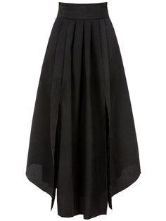 Plain Flared Maxi Skirt In Black