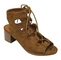 X2B Wishy1 Womens open toe lace up caged slingback chunky heel suede sandals Tan 9 *** You can find out more details at the link of the image.
