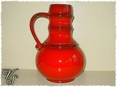 Bauchige Vintage Vase - rot - 70er. Von vintageschippie bei DaWanda.