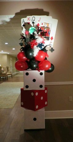 Casino decoration ideas casino themed entrance pillar made for entrance to casino night charity function casino . casino decoration ideas this casino night Casino Themed Centerpieces, Casino Party Decorations, Casino Theme Parties, Game Night Decorations, Themed Parties, Office Birthday Decorations, Magic Decorations, Fète Casino, Casino Games