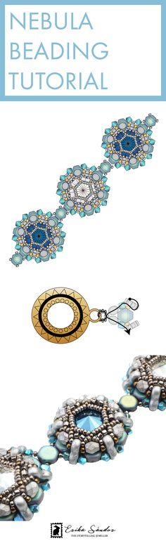 How to make the Nebula beaded bracelet. Beading tutorial / pattern / schema / instructions. Beadweaving with Erika Sandor The Storytelling Jeweller. Beadsmith Inspiration Squad. 2-hole beads. Honeycomb, Trinity, Czech glass fire polished, Swarovski round rivoli, bicone beads. Blue, silver beaded bracelet.