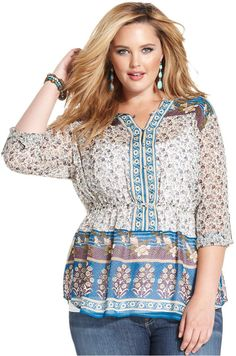 Plus Size Printed Peasant Top - Lucky Brand