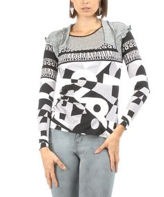 Love this Gray & Black Typographic Ruffle Square Neck Top by S'quise