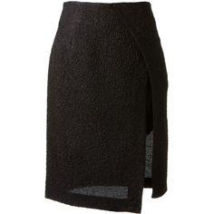 Thakoon black midi skirt (£415) ❤ liked on Polyvore featuring skirts, bottoms, faldas, gonne, black skirt, mid-calf skirt, black knee length skirt, black wrap skirt and mid calf black skirt
