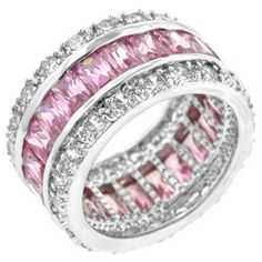 Vecalon 925 Sterling Silve Engagement wedding Band rings for Women Fashion Jewelry ring Princess cut Pink stone Cz ring.