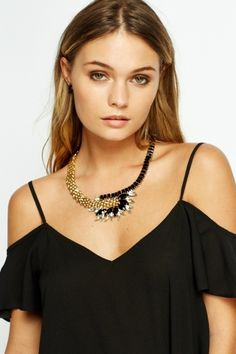 Encrusted Chained Necklace - Gold/Bronze or Gold/Black. Cheap Accessories, Going Crazy, Get The Look, Black Gold, Camisole Top, Gold Necklace, Bronze, Tank Tops, Stuff To Buy