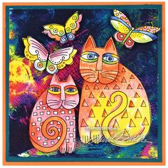 Laurel Burch™ Indigo Cats Orange by Fran Seiford - Stampendous I want to try doing sheets of paper with distress inks and then stamping these cats over the paper. Laurel Burch, Frida Art, Cat Quilt, Cat Cards, Cat Colors, Arte Pop, Cat Drawing, Copics, Art Plastique