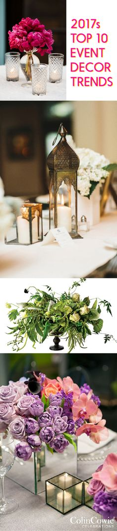 2017 Top 10 Wedding & Event Decor Trends: This year's trending wedding and event decor styles, from the ceremony to centerpieces, with ideas from @brides, @bhg, Colin Cowie Weddings, @nymag, and more.