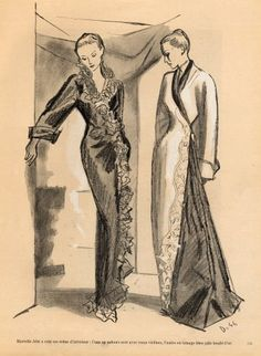 Marcelle Alix 1946 Delfau Fashion Illustration Evening Gown