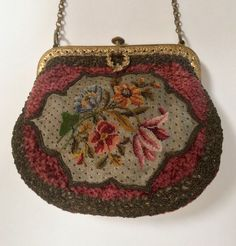Early 20th century bullion and fiber embroidery with petit point center Probably made in Austria. ThePurseMuseum.com