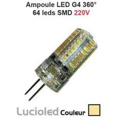 Mini Ampoule LED G4 220V 64 SMD protégées Blanc chaud