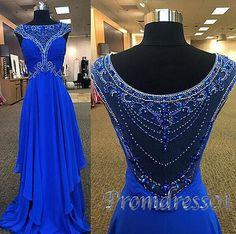 Modest prom dress, ball gown, elegant navy blue chiffon long evening dress for teens #coniefox #2016prom