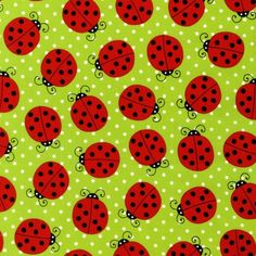 Ladybugs on Green FAT QUARTER From Robert Kaufman. $2.75, via Etsy.