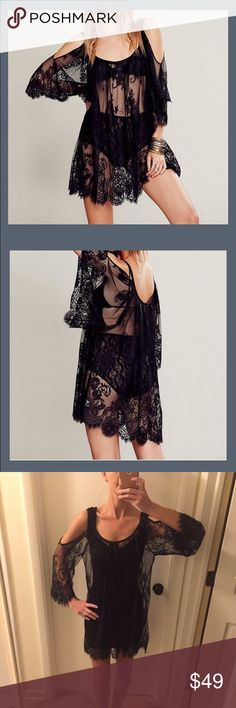 """NWT black lace tunic dress or coverup So sexy! This can literally be either a tunic top or dress based on how tall you are. Small is approx 31"""" long, 23"""" across bust (one side measured across armpit to armpit), 24"""" across waist and sleeve is approx 16"""" from armpit to hem of sleeve. Medium is 31"""" long, 24"""" across bust and 25"""" across waist, sleeves are 16"""". Large is approx 31"""" long, 25"""" across bust and 26"""" across the waist and 16"""" sleeve. I'm 5'8 and wearing a medium in the last pic. *does not…"""