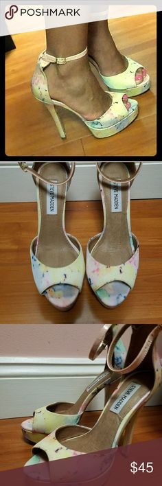 Steve Madden Platform Heels These heels were gently used and in my opinion in like new condition.  No box.  Heels are five inches tall.  Extremely sexy look.  Pastel muti color.  Perfect to wear casual or formal.  Great value! Steve Madden Shoes Platforms
