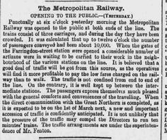 The Metropolitan Railway - Opening to the Public - from 'The Era,' 11 January 1863 Underground Lines, During The Day, Oclock, January, Public