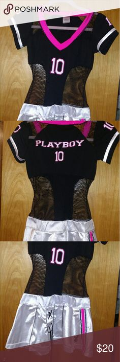 Football player halloween costume Play boy bunny football jersey halloween costume, never worn. It is in perfect condition. I'm 5'2 105 pounds it fits me well, the skirt it short. playboy bunny  Other