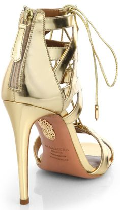 """Aquazzura """"Beverly Hills"""" Lace-Up Sandals in Gold"""