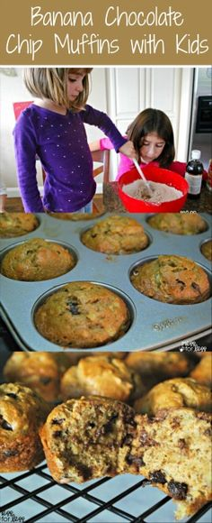 How to make banana muffins with chocolate chips with the kids. This is the perfect recipe for little ones to help make and eat!